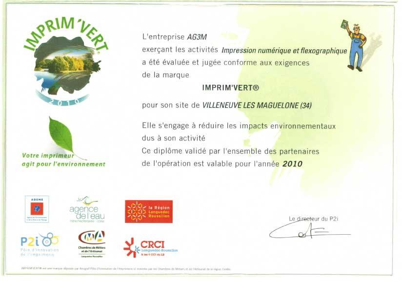 label imprimvert AG3M 2010
